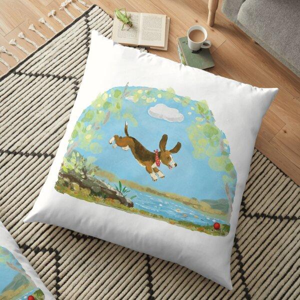 Happy Basset hound dog Floor Pillow