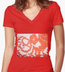 Flower Vintage Retro Women's Fitted V-Neck T-Shirt