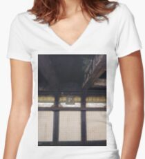 P, Street, New York, NY  Women's Fitted V-Neck T-Shirt