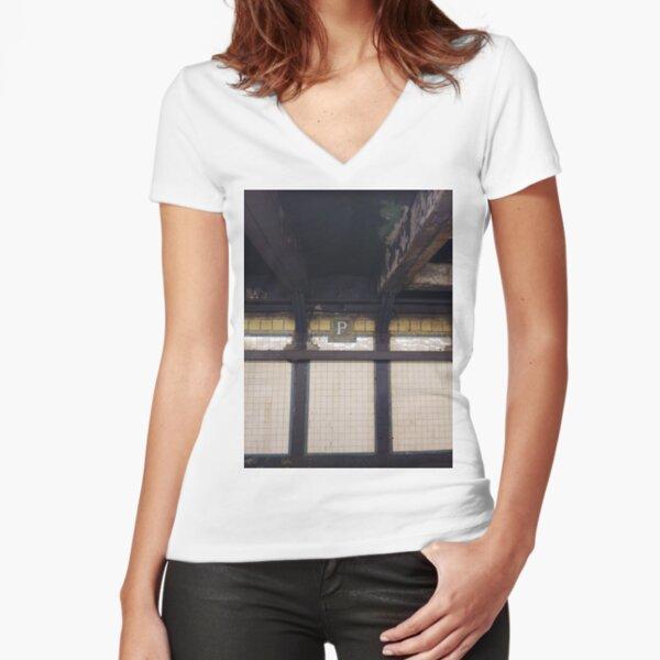 P, Street, New York, NY  Fitted V-Neck T-Shirt