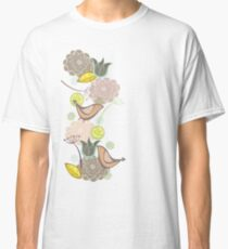 Pink Floral Potpourri Garden and Birds Classic T-Shirt