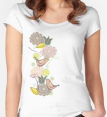 Pink Floral Potpourri Garden and Birds Women's Fitted Scoop T-Shirt