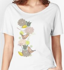 Pink Floral Potpourri Garden & Birds Women's Relaxed Fit T-Shirt