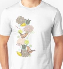 Pink Floral Potpourri Garden and Birds T-Shirt