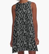 Black Feather Pattern A-Line Dress