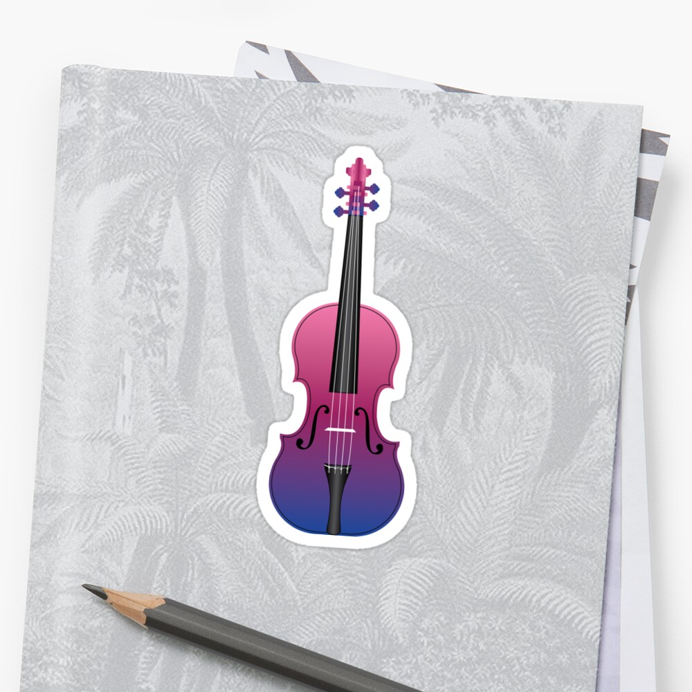 Violin Purple and Blue Sticker