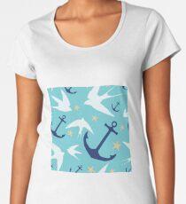 Swallows & Anchors Blue Pattern Women's Premium T-Shirt
