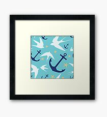 Swallows & Anchors Blue Pattern Framed Print