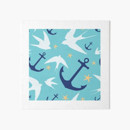 Swallows & Anchors Blue Pattern Art Board Print