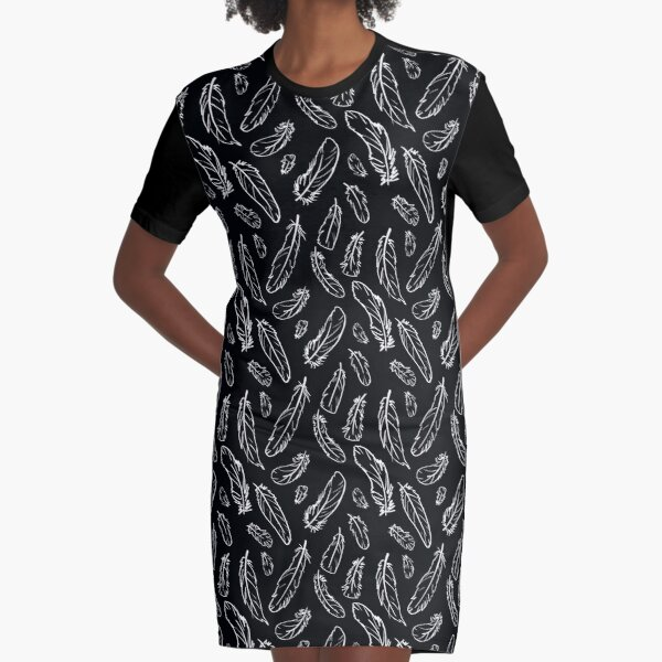 Black Feather Pattern Graphic T-Shirt Dress