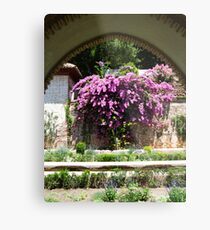 Flowers through the arcade Metal Print