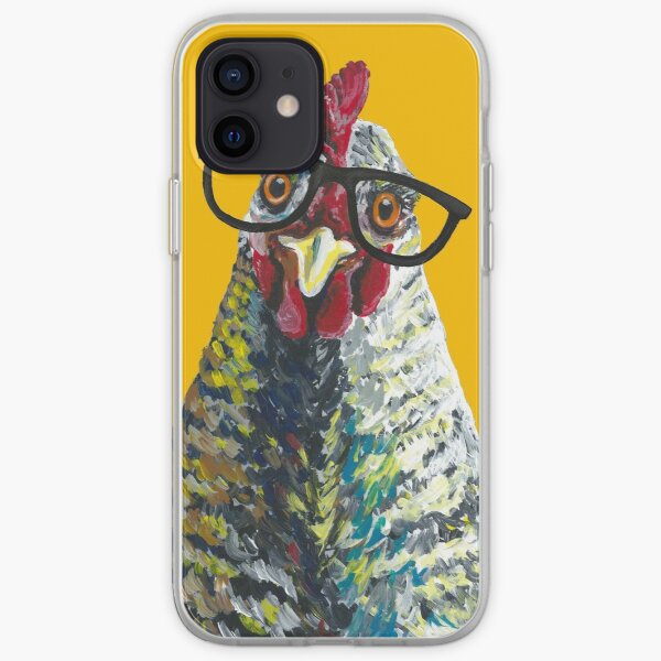 Chicken with Glasses, Cute Chicken Art iPhone Soft Case