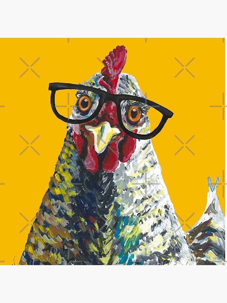 Chicken with Glasses, Cute Chicken Art by leekellerart