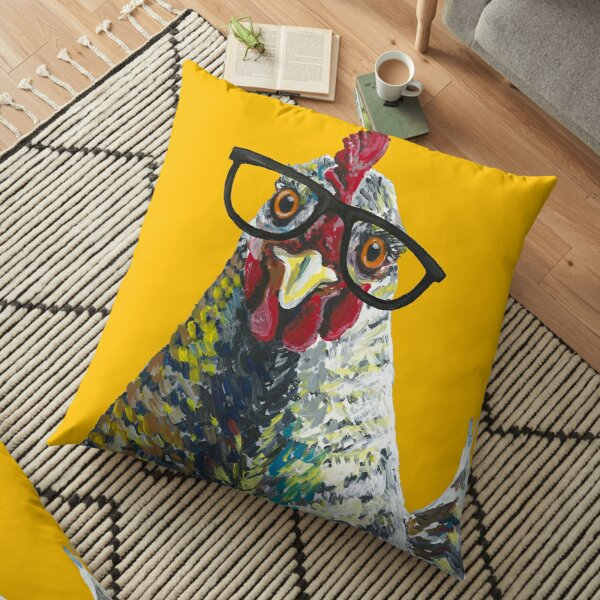 Poulet avec des lunettes, Art de poulet mignon Coussin de sol