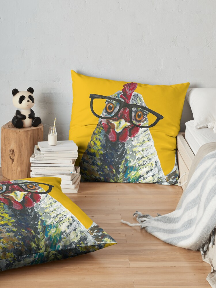 Alternate view of Chicken with Glasses, Cute Chicken Art Floor Pillow