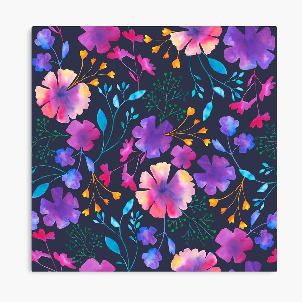 Fluro Floral Watercolour Flower Pattern Canvas Print