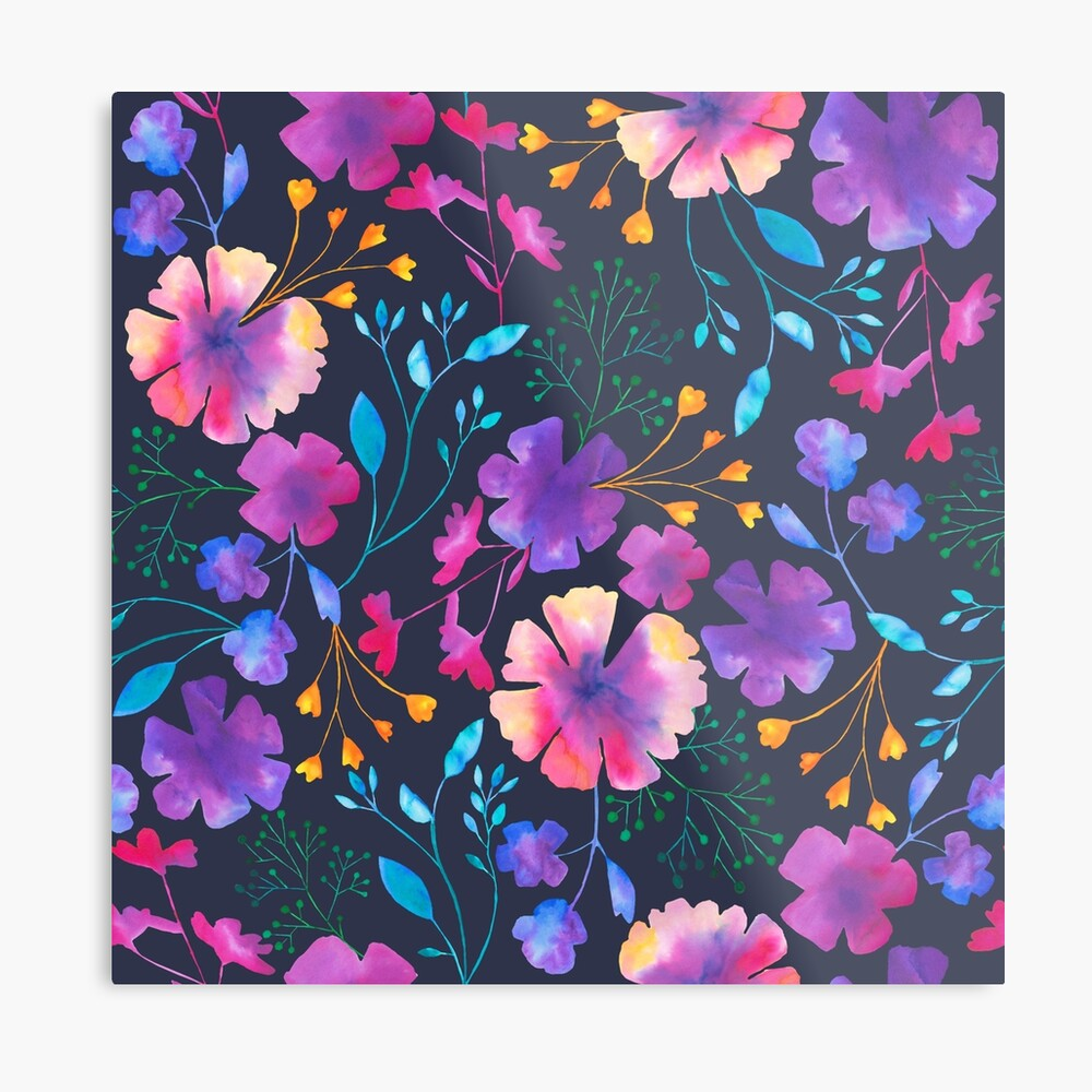 Fluro Floral Watercolour Flower Pattern Metal Print