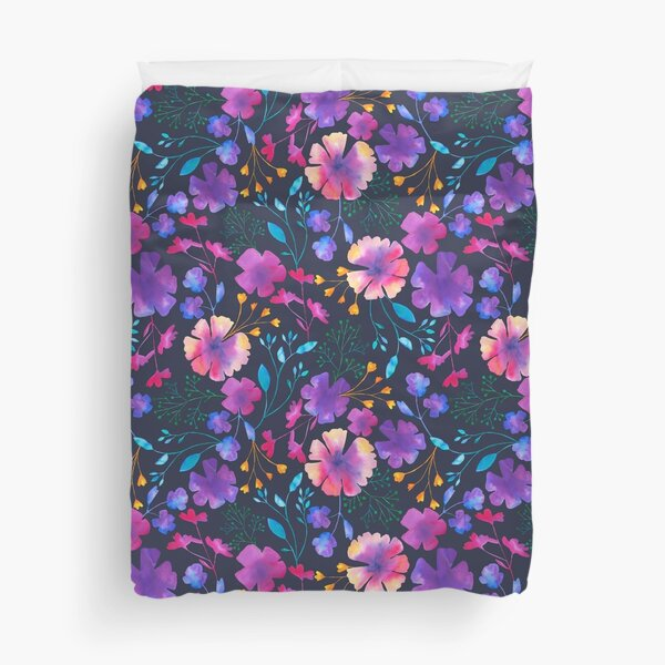 Fluro Floral Watercolour Flower Pattern Duvet Cover