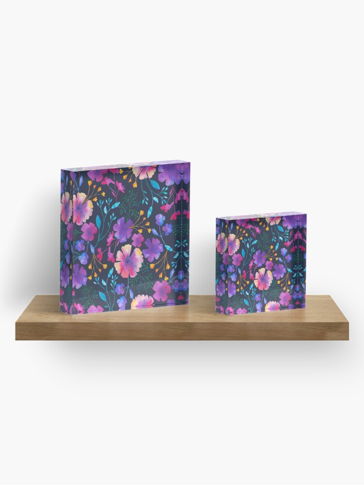 Alternate view of Fluro Floral Watercolour Flower Pattern Acrylic Block