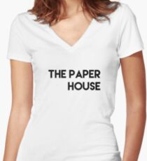 The Paper House T-Shirt Women's Fitted V-Neck T-Shirt