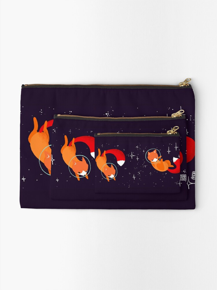 Alternate view of Space Foxes Zipper Pouch