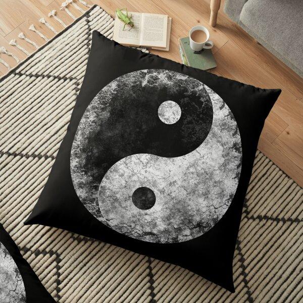 Grunge Yin Yang Floor Pillow