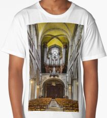 Majestic interior of old medieval church, Bourgogne, France Long T-Shirt