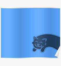 Little Blue Stretch Cat Poster