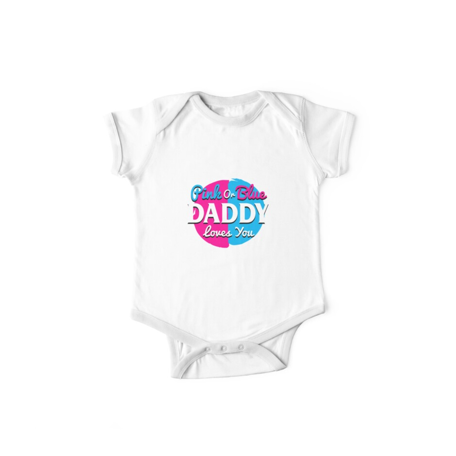 Pink Or Blue Daddy Loves You Gender Reveal Shirts Pregnant
