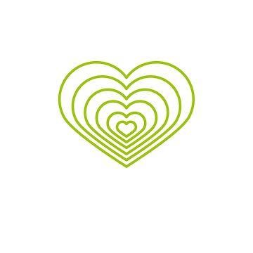 Forma de corazón verde multi de jashirts