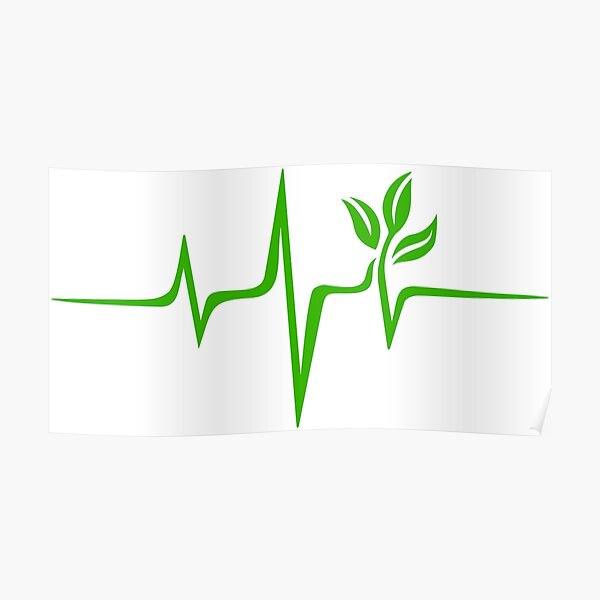 Heartbeat, Pulse Green, Vegan, Frequency, Wave, Earth, Planet Poster