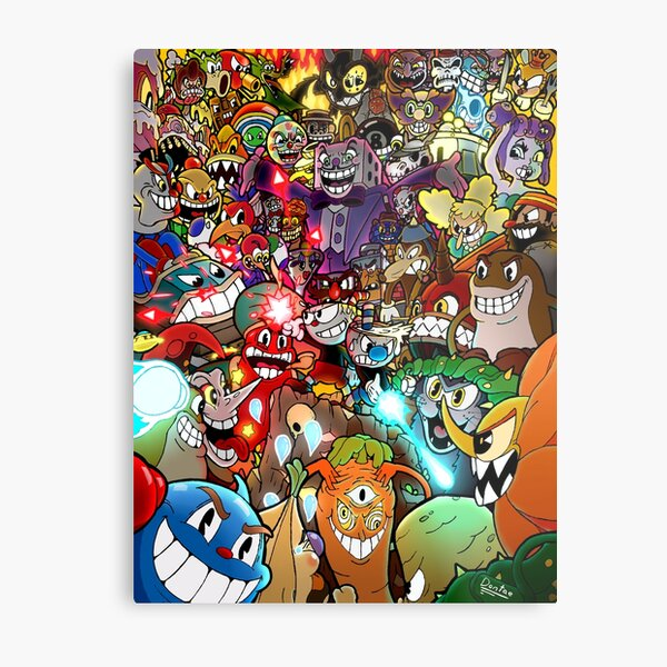 Cuphead Poster + Color Metal Print