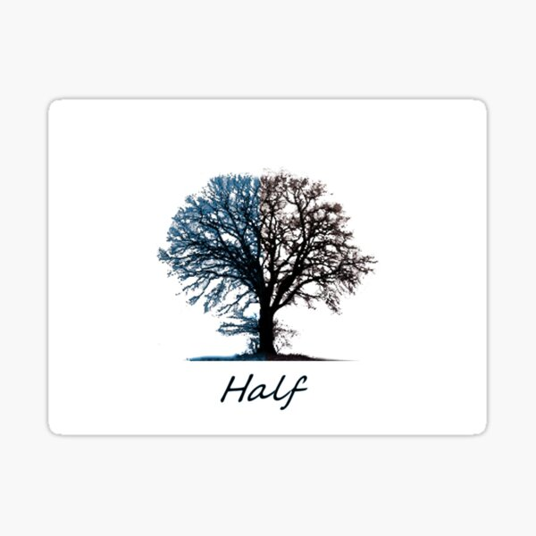 Half Tree and Title in Blue and Black Sticker