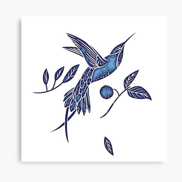 Delft Blue Humming Birds & Leaves Pattern Canvas Print