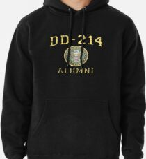 DD-214 U.S. Army Alumni Shirt for a Retired Hero Insignia/Seal Distressed Pullover Hoodie