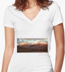 Sunrise Rannoch Moor Women's Fitted V-Neck T-Shirt