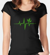Heartbeat, Pulse Green, Vegan, Frequency, Wave, Earth, Planet Women's Fitted Scoop T-Shirt