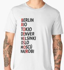 La Casa de Papel Names of Cities Men's Premium T-Shirt