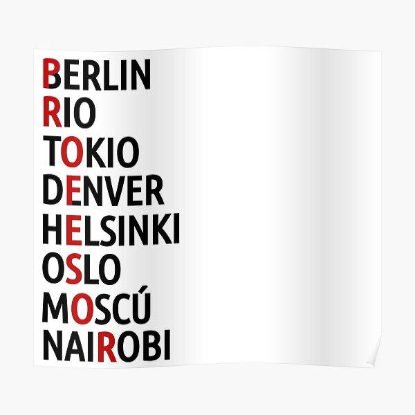 La Casa de Papel Noms des Villes Poster