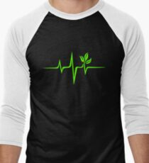 Heartbeat, Pulse Green, Vegan, Frequency, Wave, Earth, Planet Men's Baseball ¾ T-Shirt