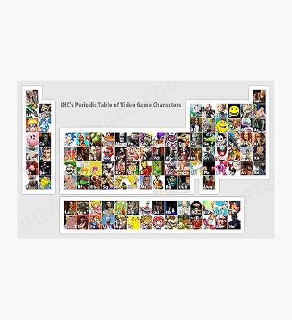 Periodic Table of Video Game Characters Photographic Print