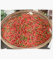 Chilis for sale in a market at Phnom Penh, Cambodia Poster