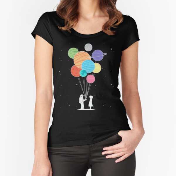 Cool Science Astronomy Astronaut Planets T Shirts Gifts for Women Men Fitted Scoop T-Shirt