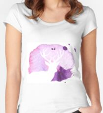 Pink and Purple watercolour deer silhouette  Women's Fitted Scoop T-Shirt