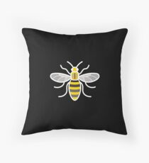 Manchester Bee (On Black) Throw Pillow