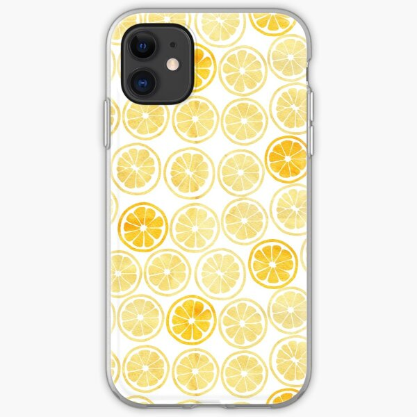 Yellow Watercolor Lemon Slices Pattern iPhone Soft Case