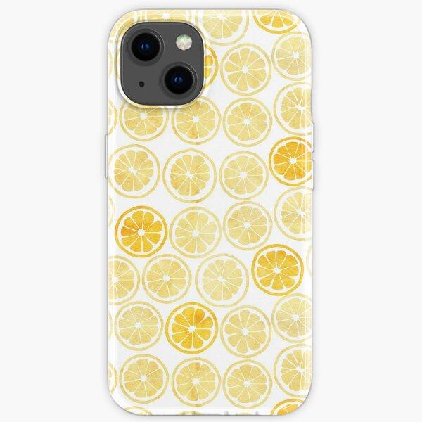 Yellow Watercolor Lemon Slices Pattern iPhone Soft Case