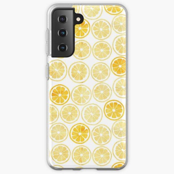 Yellow Watercolor Lemon Slices Pattern Samsung Galaxy Soft Case