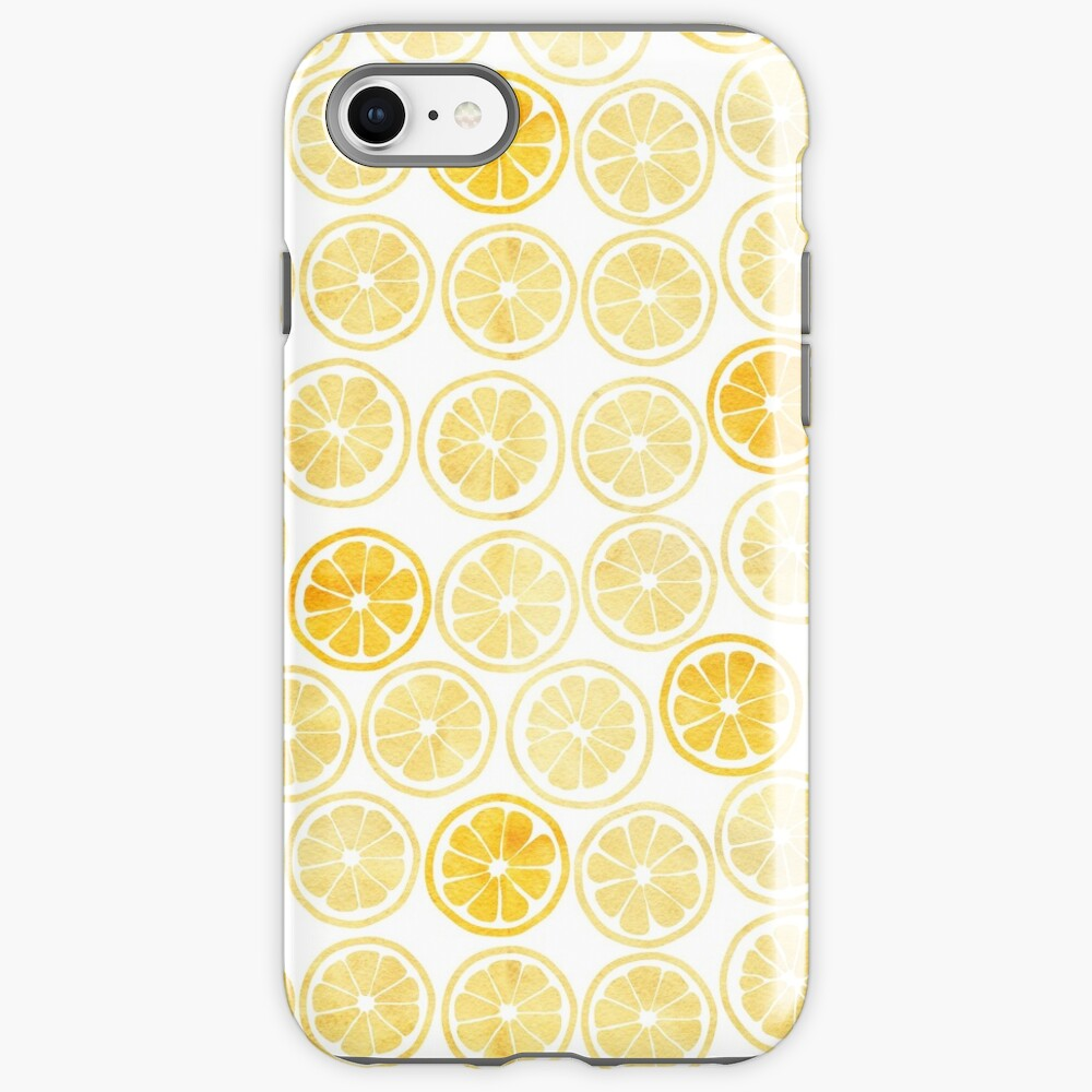 Yellow Watercolor Lemon Slices Pattern iPhone Case & Cover