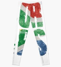 Born in the RSA - funny artwork for South African expats Leggings